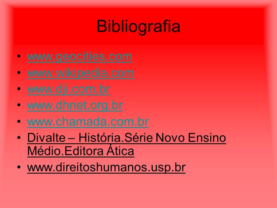 Bibliografia www.geocities.com www.wikipedia.com www.dji.com.br www.dhnet.org.br www.chamada.com.br Divalte – História.Série Novo Ensino Médio.Editora Ática www.direitoshumanos.usp.br