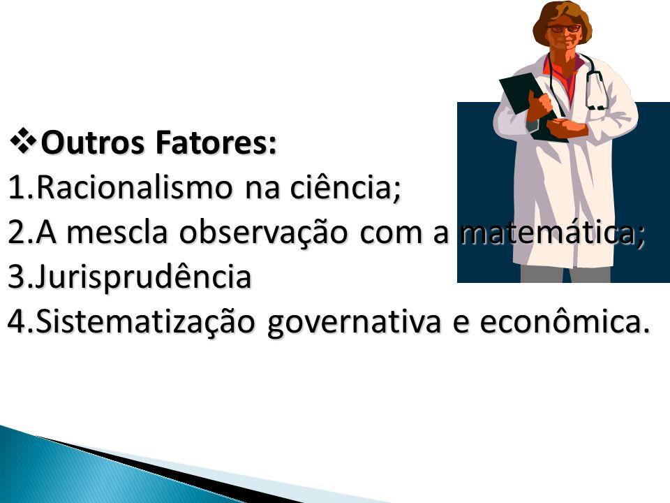 Outros Fatores: Outros Fatores: 1.Racionalismo na ciência; 2.A mescla observação com a matemática; 3.Jurisprudência 4.Sistematização governativa e eco