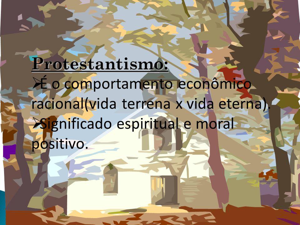 Protestantismo: É o comportamento econômico racional(vida terrena x vida eterna). Significado espiritual e moral positivo.