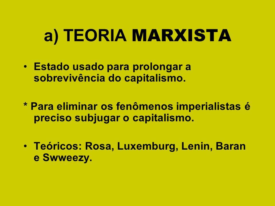 a) TEORIA MARXISTA Estado usado para prolongar a sobrevivência do capitalismo. * Para eliminar os fenômenos imperialistas é preciso subjugar o capital