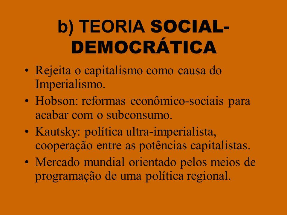 b) TEORIA SOCIAL- DEMOCRÁTICA Rejeita o capitalismo como causa do Imperialismo. Hobson: reformas econômico-sociais para acabar com o subconsumo. Kauts
