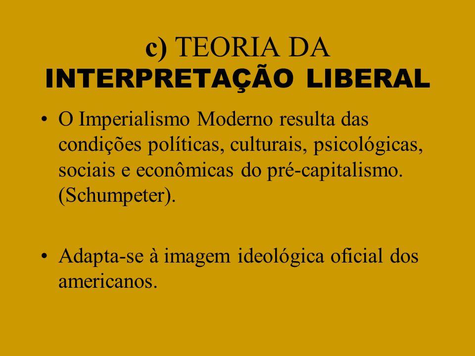 c) TEORIA DA INTERPRETAÇÃO LIBERAL O Imperialismo Moderno resulta das condições políticas, culturais, psicológicas, sociais e econômicas do pré-capita