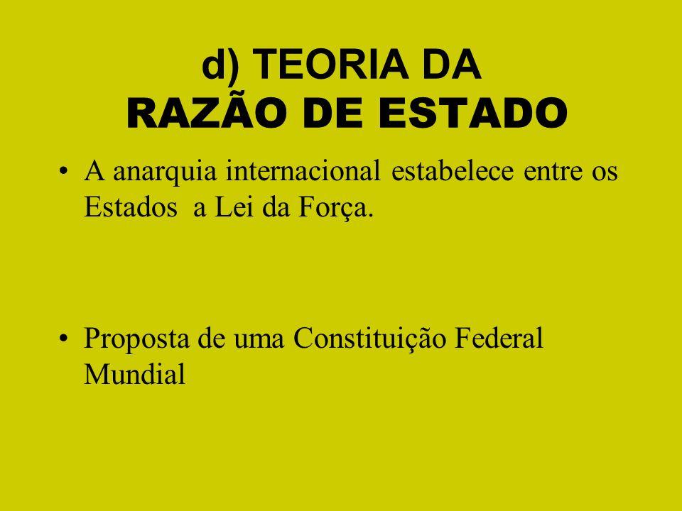 d) TEORIA DA RAZÃO DE ESTADO A anarquia internacional estabelece entre os Estados a Lei da Força. Proposta de uma Constituição Federal Mundial
