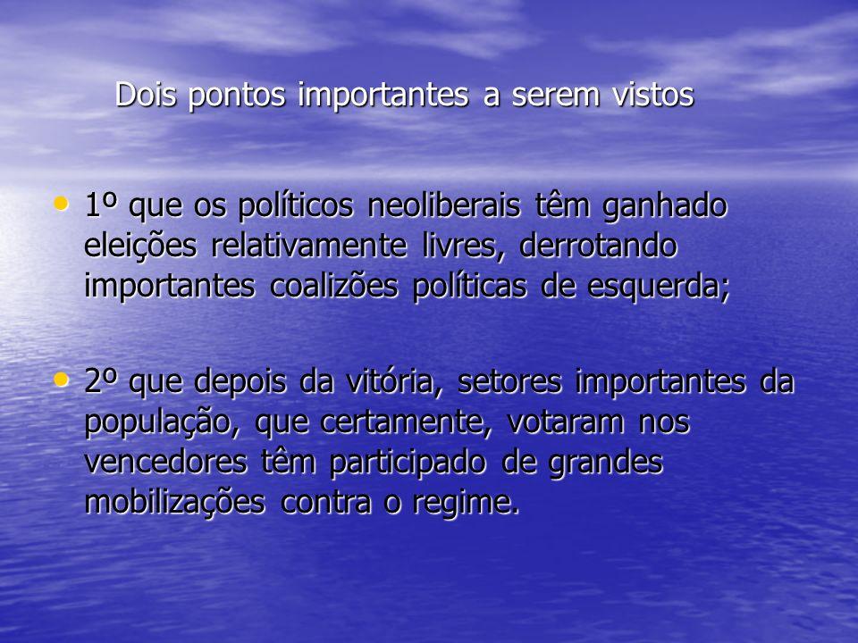 Alternativas do neoliberalismo na América Latina Um contexto social do neoliberalismo; Um contexto social do neoliberalismo; A continuidade do autoritarismo; A continuidade do autoritarismo; As revoltas populares, As revoltas populares, Vantagens estratégicas neoliberais; Vantagens estratégicas neoliberais; Etapas das políticas neoliberais; Etapas das políticas neoliberais;