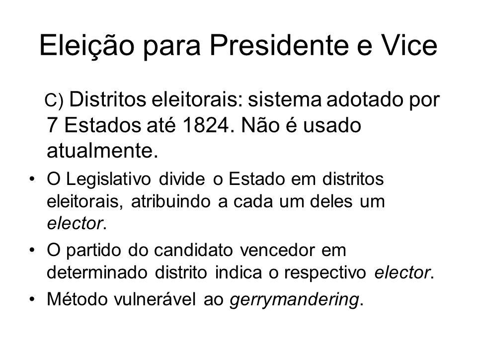 Eleição para Presidente e Vice C) Distritos eleitorais: sistema adotado por 7 Estados até 1824. Não é usado atualmente. O Legislativo divide o Estado