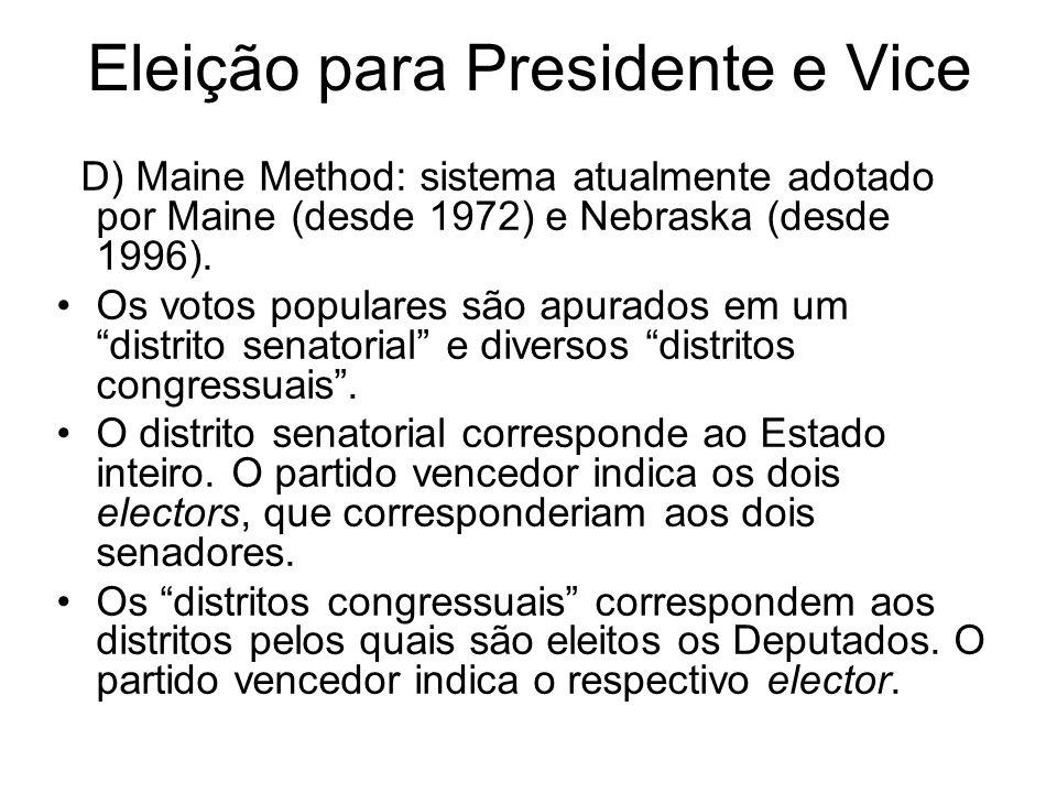 Eleição para Presidente e Vice D) Maine Method: sistema atualmente adotado por Maine (desde 1972) e Nebraska (desde 1996). Os votos populares são apur