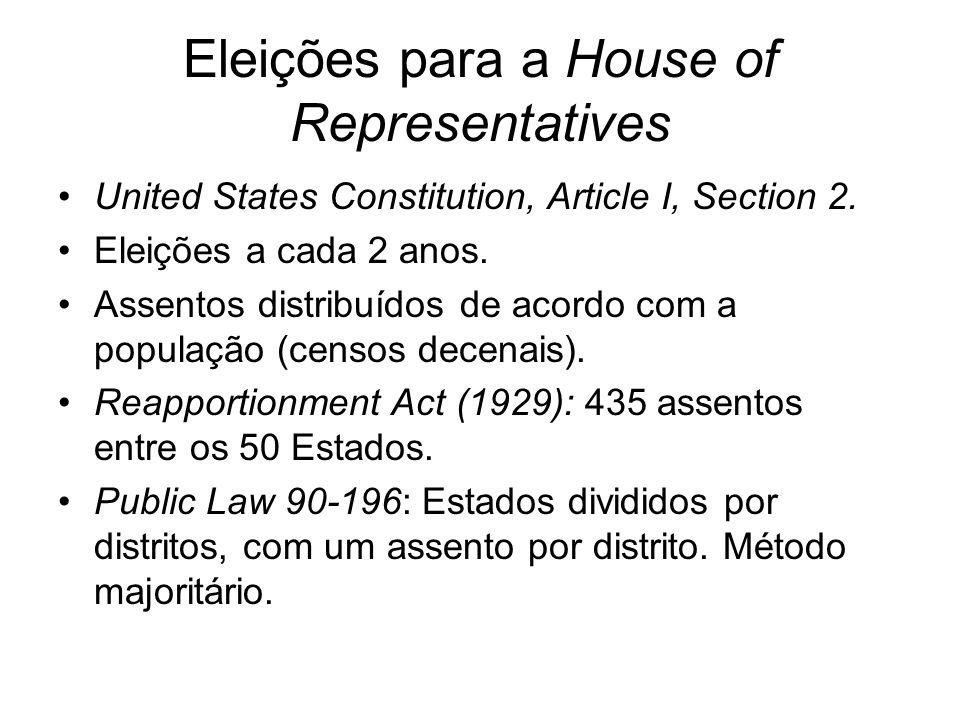 Eleições para a House of Representatives United States Constitution, Article I, Section 2. Eleições a cada 2 anos. Assentos distribuídos de acordo com