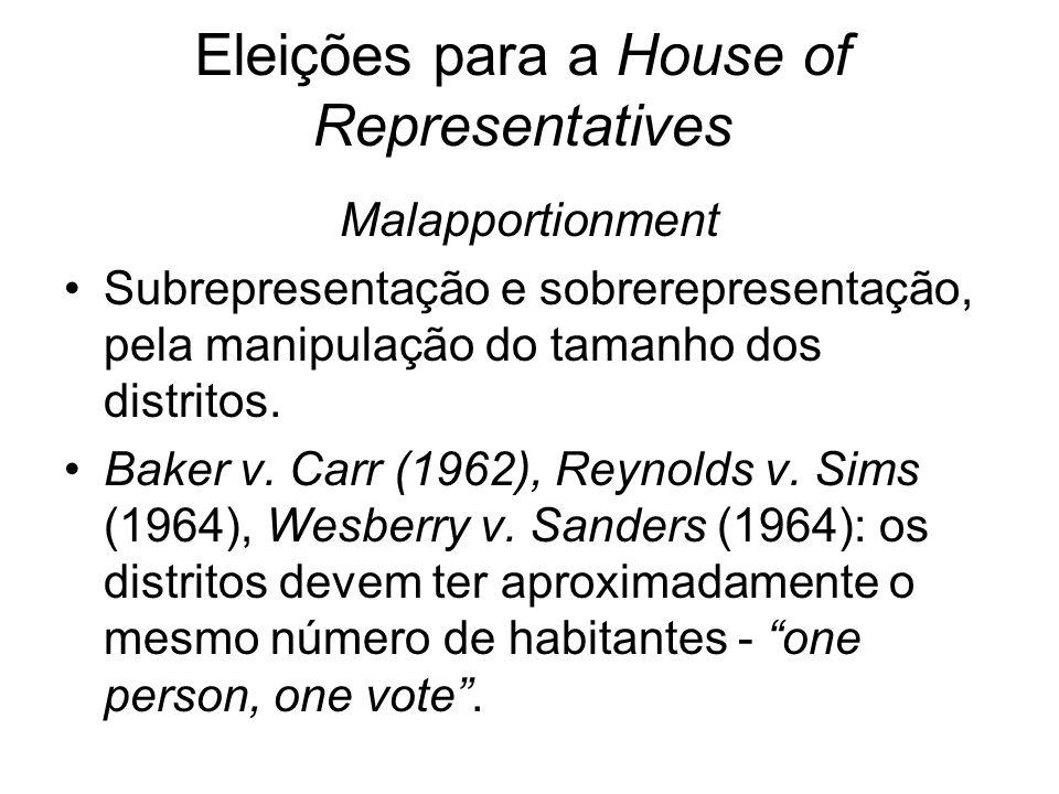 Eleições para a House of Representatives Malapportionment Subrepresentação e sobrerepresentação, pela manipulação do tamanho dos distritos. Baker v. C
