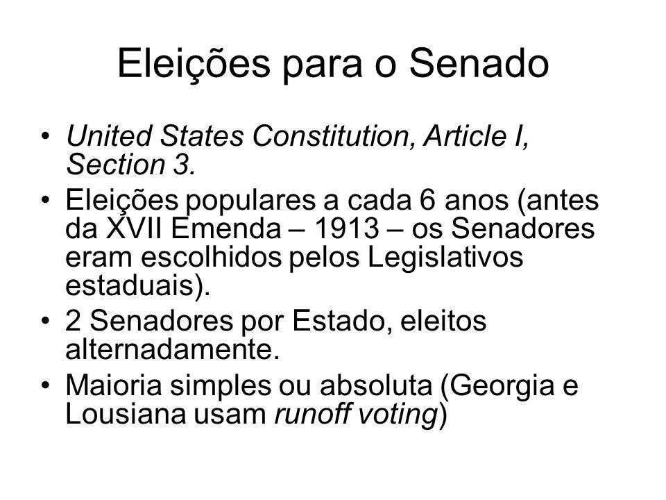 Eleições para o Senado United States Constitution, Article I, Section 3. Eleições populares a cada 6 anos (antes da XVII Emenda – 1913 – os Senadores