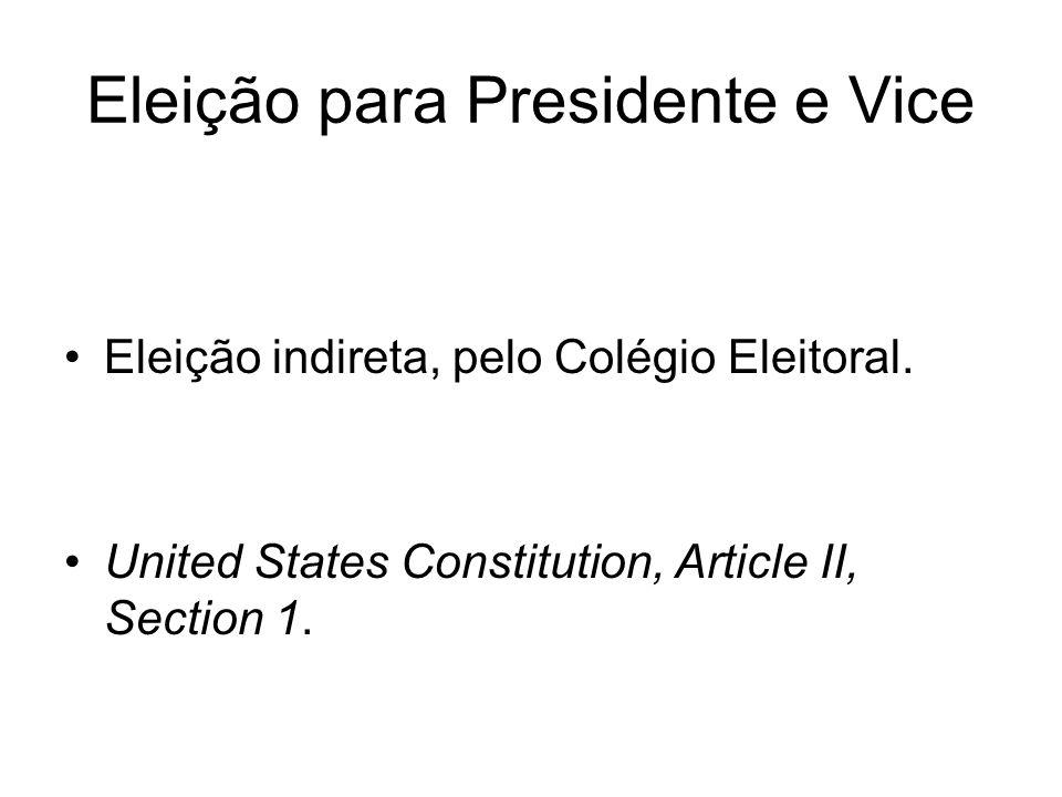Eleição para Presidente e Vice Eleição indireta, pelo Colégio Eleitoral. United States Constitution, Article II, Section 1.