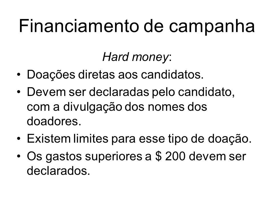 Financiamento de campanha Hard money: Doações diretas aos candidatos. Devem ser declaradas pelo candidato, com a divulgação dos nomes dos doadores. Ex