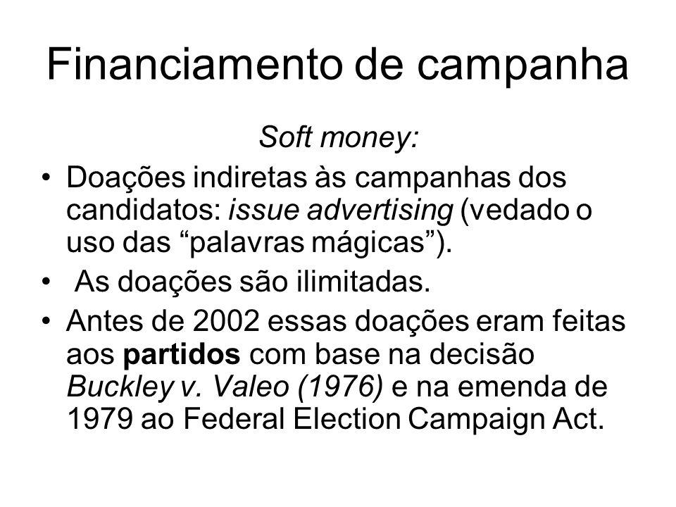 Financiamento de campanha Soft money: Doações indiretas às campanhas dos candidatos: issue advertising (vedado o uso das palavras mágicas). As doações