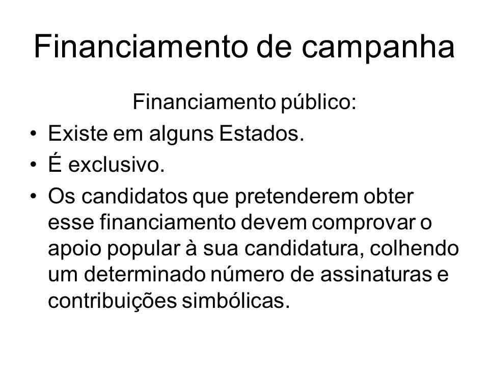 Financiamento de campanha Financiamento público: Existe em alguns Estados. É exclusivo. Os candidatos que pretenderem obter esse financiamento devem c