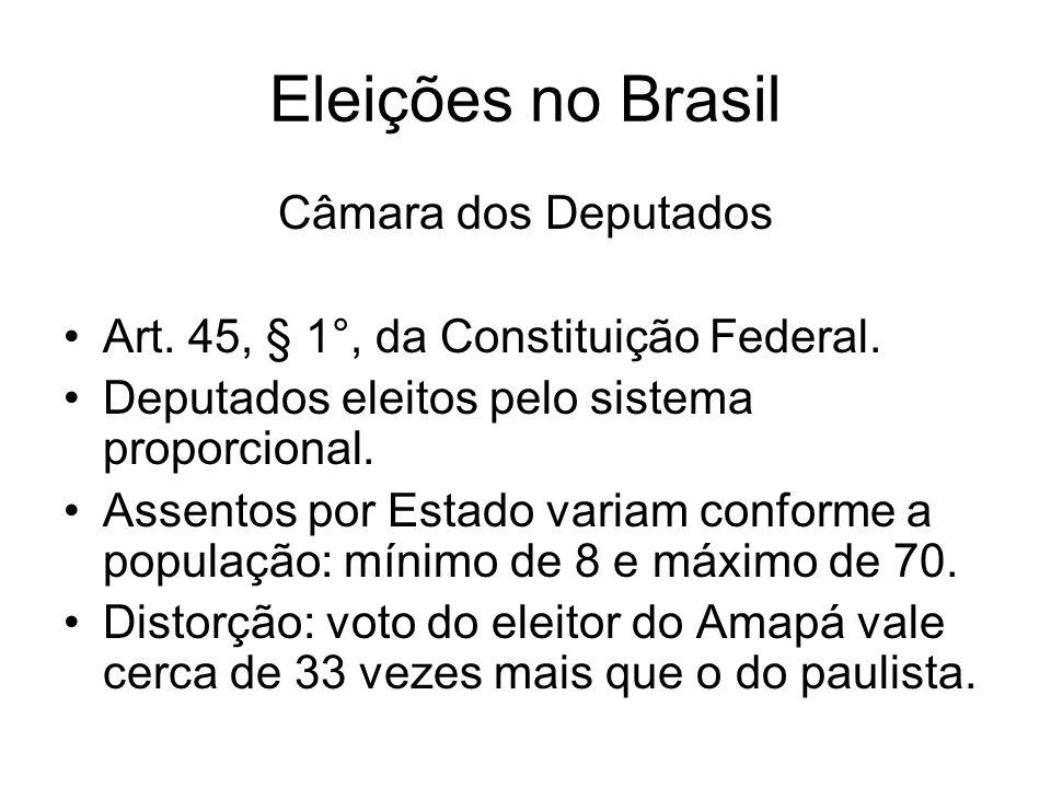 Eleições no Brasil Câmara dos Deputados Art. 45, § 1°, da Constituição Federal. Deputados eleitos pelo sistema proporcional. Assentos por Estado varia