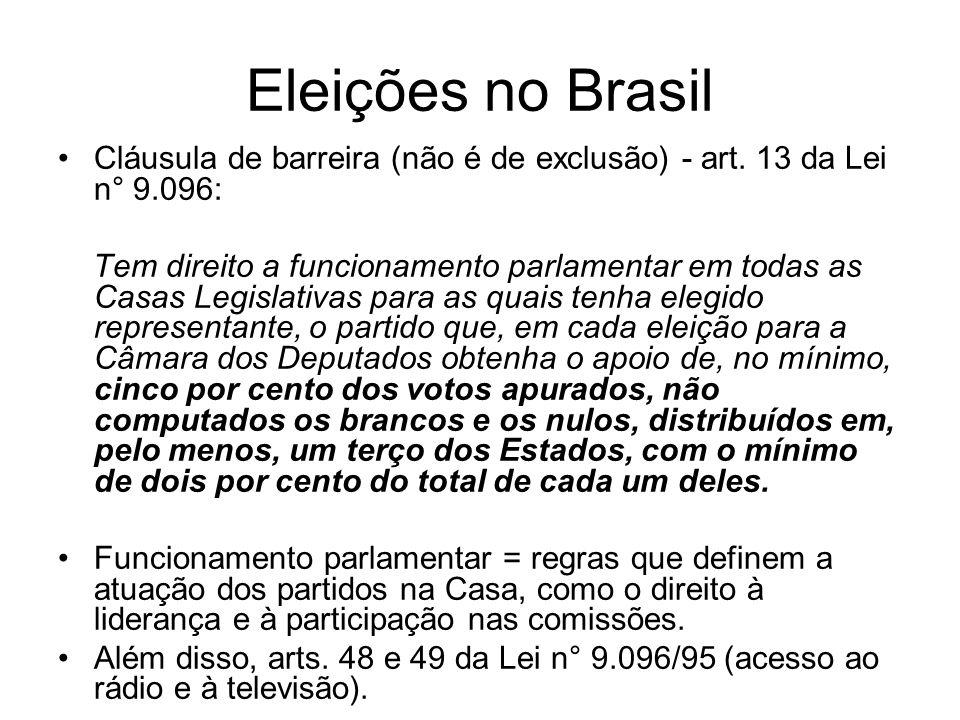 Eleições no Brasil Cláusula de barreira (não é de exclusão) - art. 13 da Lei n° 9.096: Tem direito a funcionamento parlamentar em todas as Casas Legis