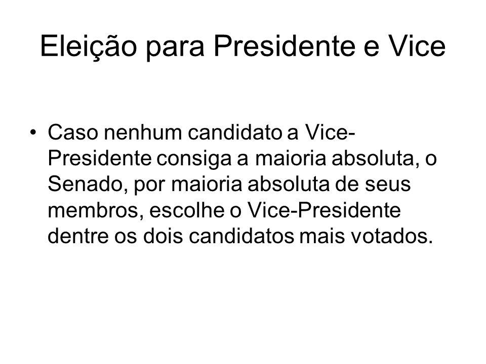Eleição para Presidente e Vice Caso nenhum candidato a Vice- Presidente consiga a maioria absoluta, o Senado, por maioria absoluta de seus membros, es