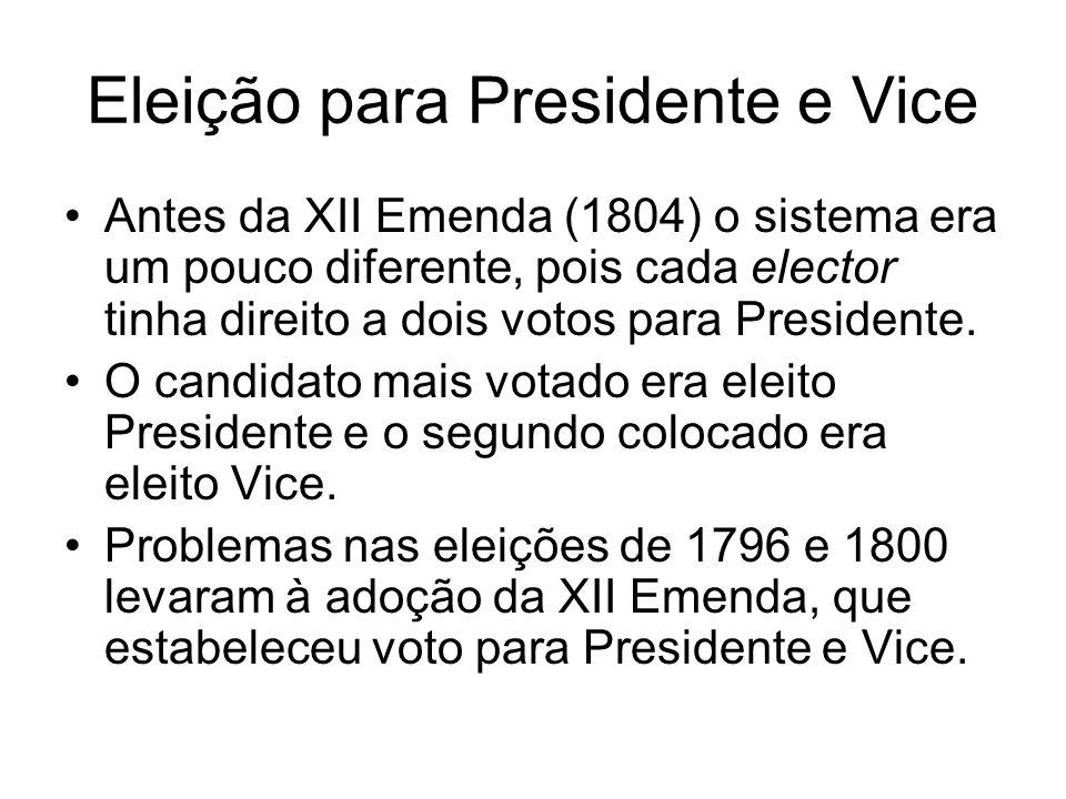 Eleição para Presidente e Vice Antes da XII Emenda (1804) o sistema era um pouco diferente, pois cada elector tinha direito a dois votos para Presiden