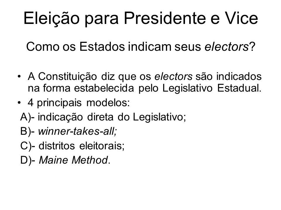 Eleição para Presidente e Vice Como os Estados indicam seus electors? A Constituição diz que os electors são indicados na forma estabelecida pelo Legi