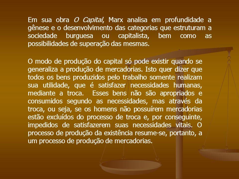 Em sua obra O Capital, Marx analisa em profundidade a gênese e o desenvolvimento das categorias que estruturam a sociedade burguesa ou capitalista, be