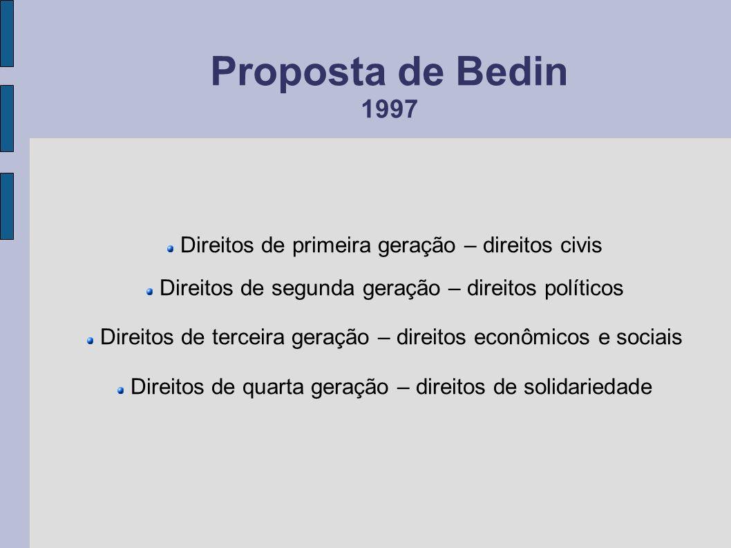 Proposta de Bedin 1997 Direitos de primeira geração – direitos civis Direitos de segunda geração – direitos políticos Direitos de terceira geração – d
