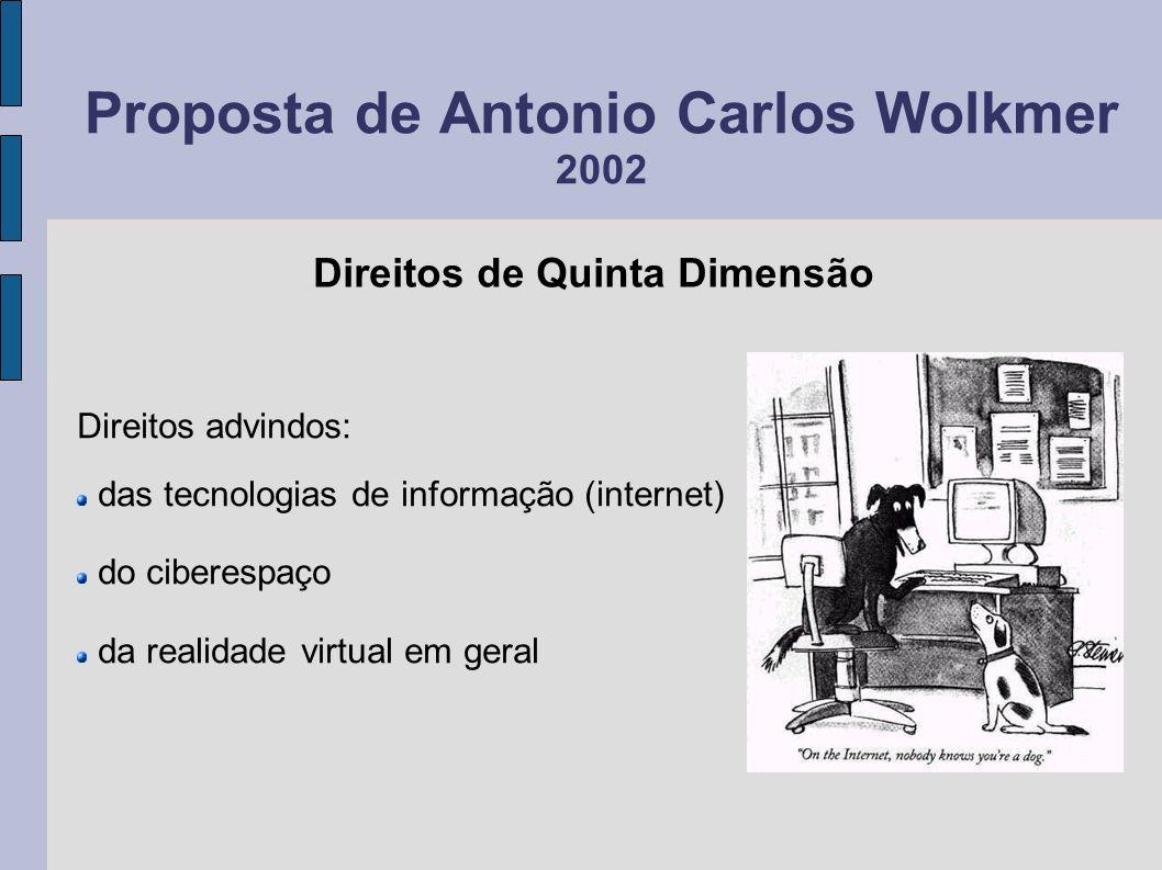 Proposta de Antonio Carlos Wolkmer 2002 Direitos advindos: das tecnologias de informação (internet) do ciberespaço da realidade virtual em geral Direi