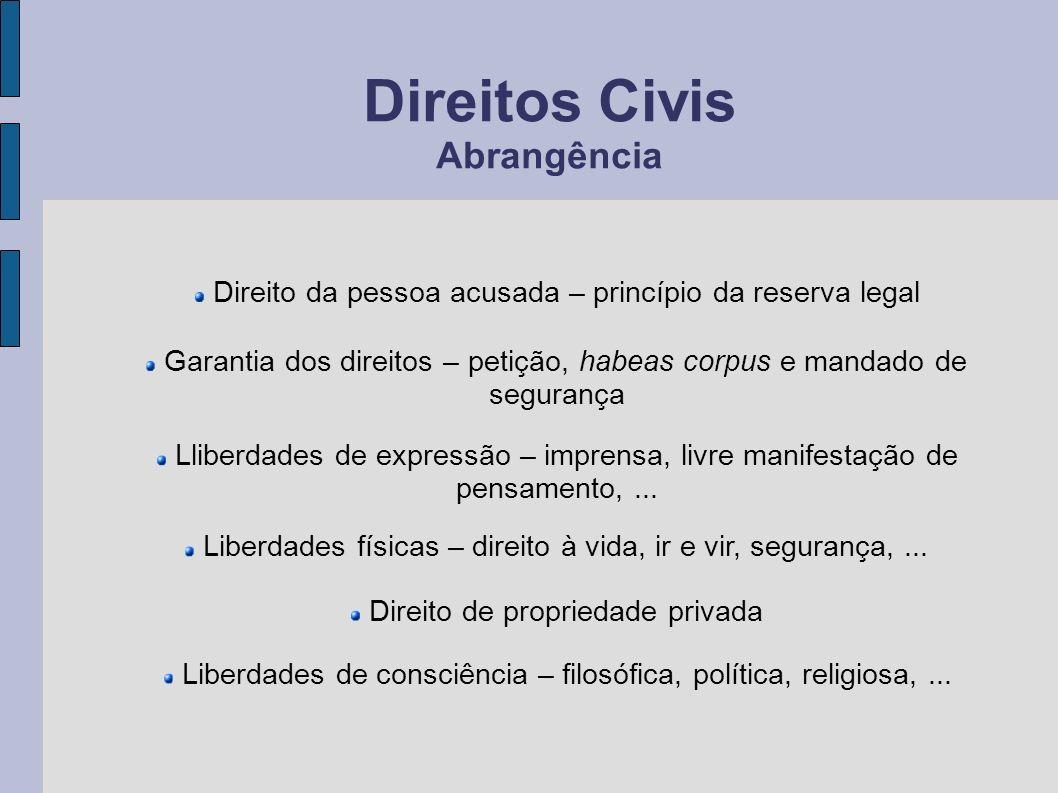 Direitos Civis Abrangência Liberdades físicas – direito à vida, ir e vir, segurança,... Lliberdades de expressão – imprensa, livre manifestação de pen