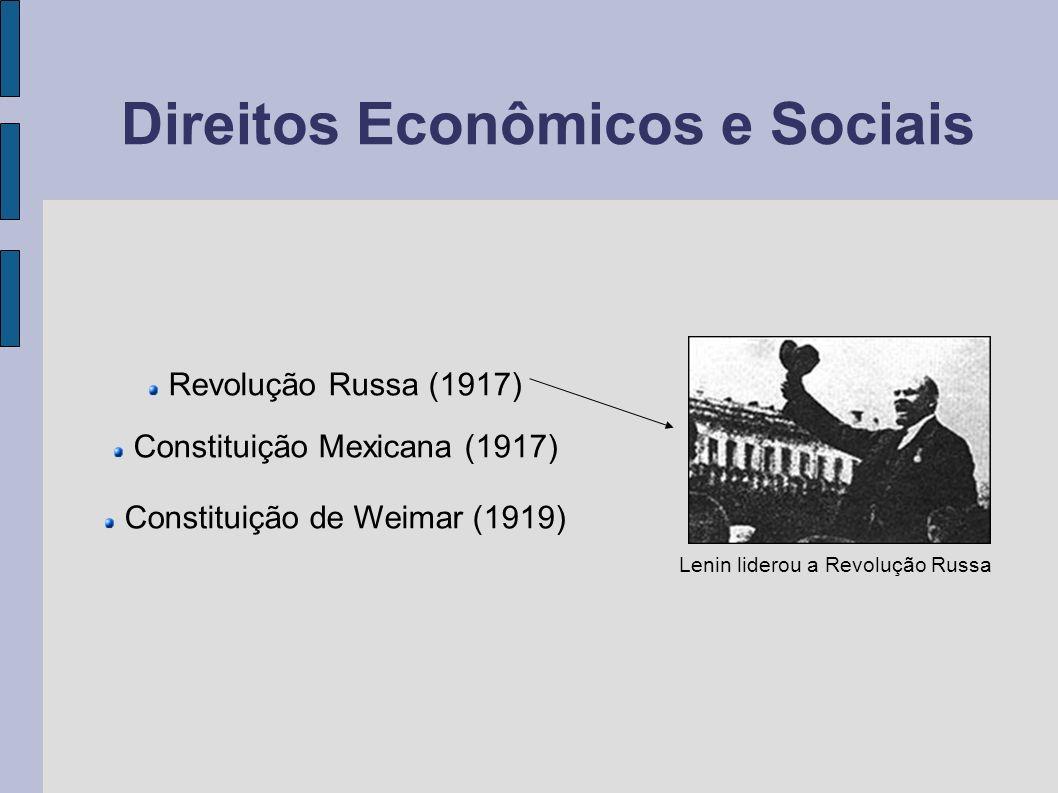 Direitos Econômicos e Sociais Revolução Russa (1917) Constituição Mexicana (1917) Constituição de Weimar (1919) Lenin liderou a Revolução Russa