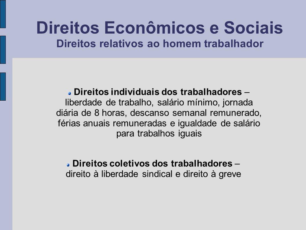 Direitos Econômicos e Sociais Direitos relativos ao homem trabalhador Direitos individuais dos trabalhadores – liberdade de trabalho, salário mínimo,