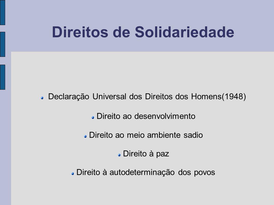 Direitos de Solidariedade Declaração Universal dos Direitos dos Homens(1948) Direito ao desenvolvimento Direito ao meio ambiente sadio Direito à paz D