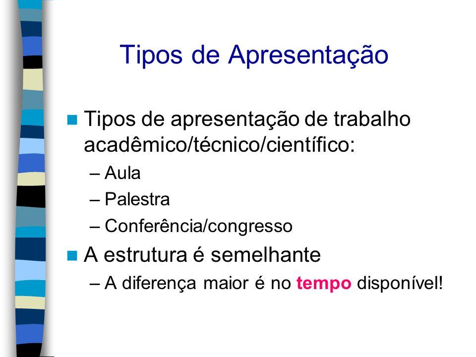 Tipos de Apresentação Tipos de apresentação de trabalho acadêmico/técnico/científico: –Aula –Palestra –Conferência/congresso A estrutura é semelhante