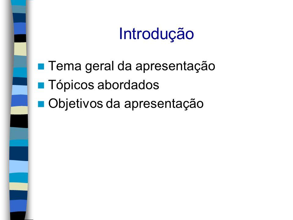 Introdução Tema geral da apresentação Tópicos abordados Objetivos da apresentação