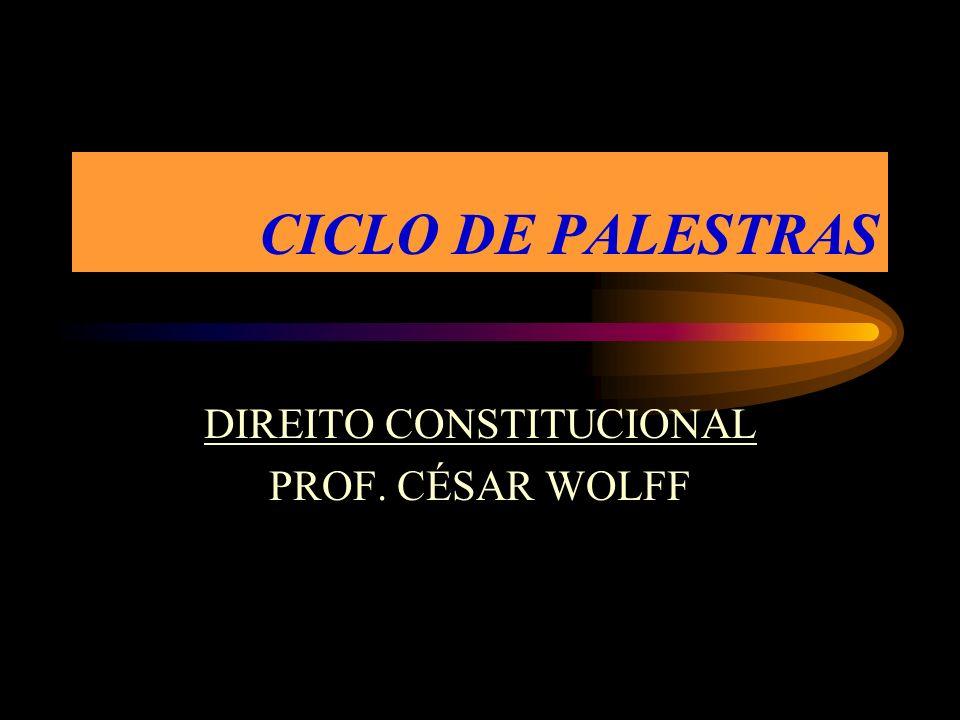CICLO DE PALESTRAS DIREITO CONSTITUCIONAL PROF. CÉSAR WOLFF