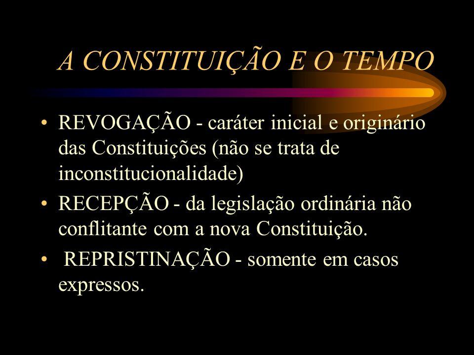A CONSTITUIÇÃO E O TEMPO REVOGAÇÃO - caráter inicial e originário das Constituições (não se trata de inconstitucionalidade) RECEPÇÃO - da legislação o
