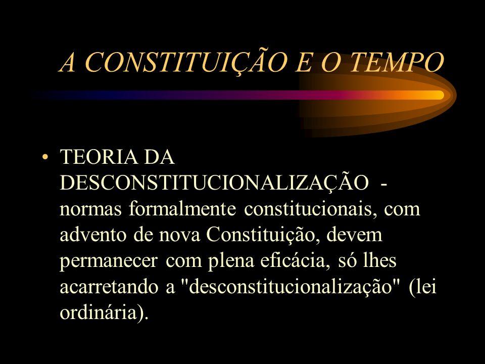 A CONSTITUIÇÃO E O TEMPO TEORIA DA DESCONSTITUCIONALIZAÇÃO - normas formalmente constitucionais, com advento de nova Constituição, devem permanecer co