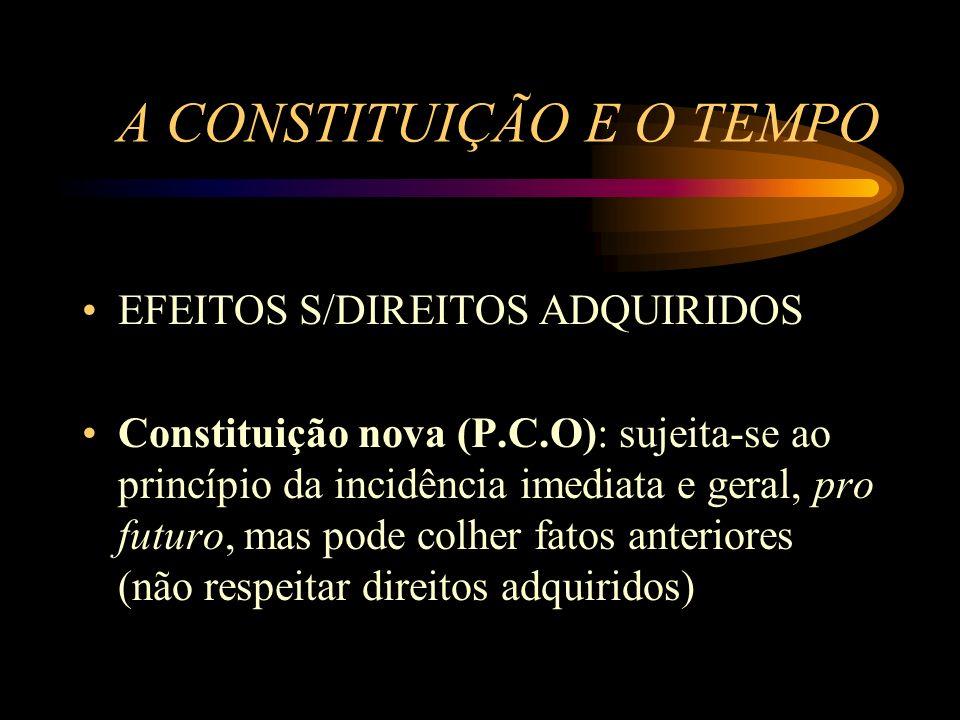 A CONSTITUIÇÃO E O TEMPO EFEITOS S/DIREITOS ADQUIRIDOS Constituição nova (P.C.O): sujeita-se ao princípio da incidência imediata e geral, pro futuro,