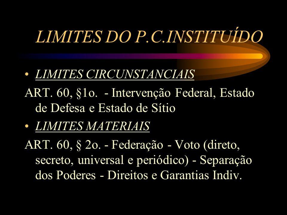 LIMITES DO P.C.INSTITUÍDO LIMITES CIRCUNSTANCIAIS ART. 60, §1o. - Intervenção Federal, Estado de Defesa e Estado de Sítio LIMITES MATERIAIS ART. 60, §