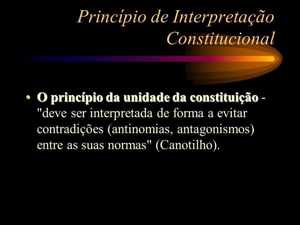 Princípio de Interpretação Constitucional O princípio da unidade da constituiçãoO princípio da unidade da constituição -