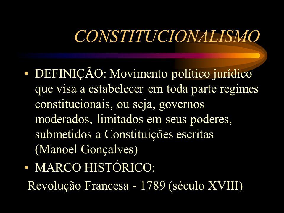 CONSTITUCIONALISMO DEFINIÇÃO: Movimento político jurídico que visa a estabelecer em toda parte regimes constitucionais, ou seja, governos moderados, l