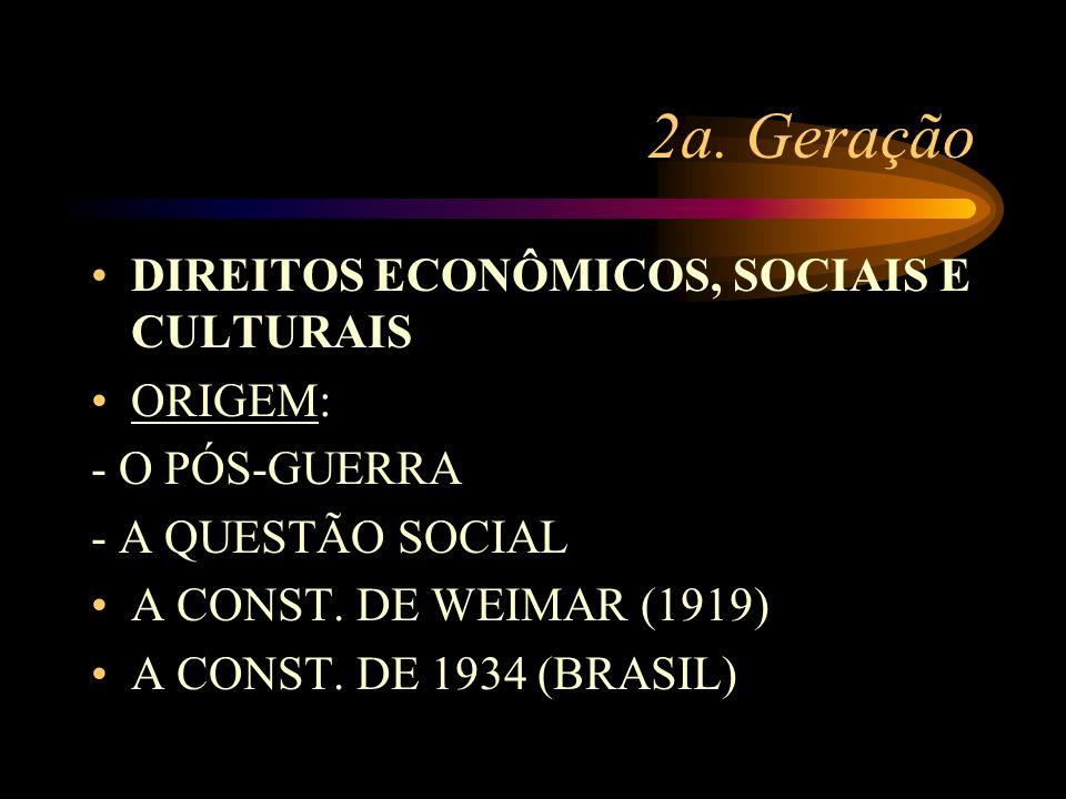 2a. Geração DIREITOS ECONÔMICOS, SOCIAIS E CULTURAIS ORIGEM: - O PÓS-GUERRA - A QUESTÃO SOCIAL A CONST. DE WEIMAR (1919) A CONST. DE 1934 (BRASIL)