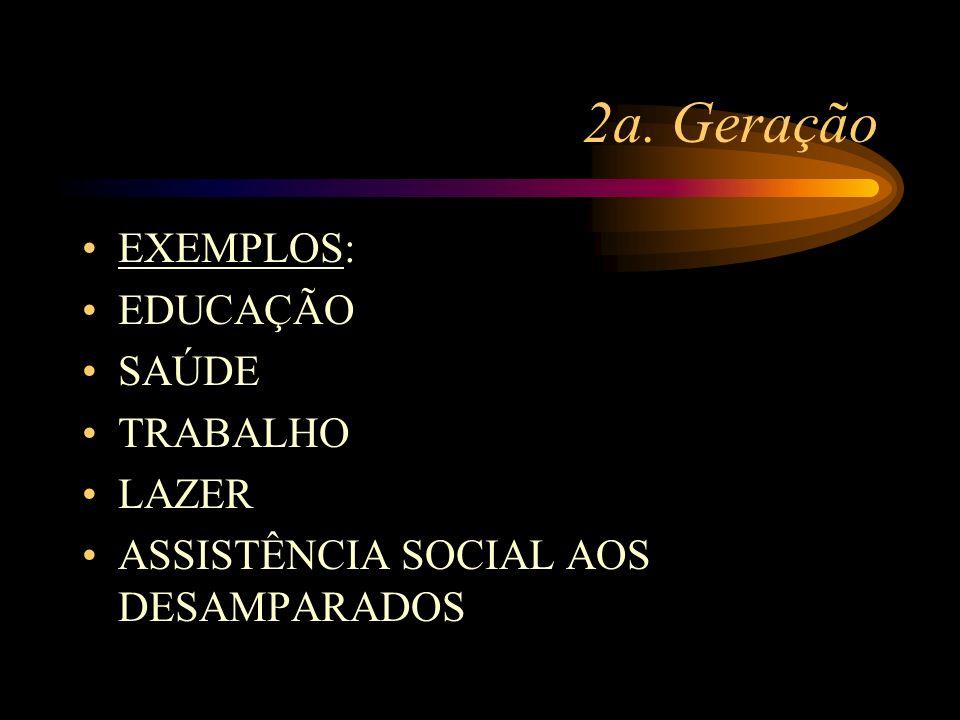 2a. Geração EXEMPLOS: EDUCAÇÃO SAÚDE TRABALHO LAZER ASSISTÊNCIA SOCIAL AOS DESAMPARADOS