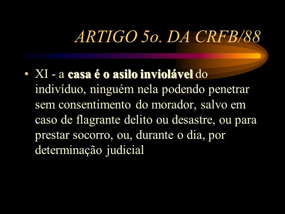 ARTIGO 5o. DA CRFB/88 casa é o asilo inviolávelXI - a casa é o asilo inviolável do indivíduo, ninguém nela podendo penetrar sem consentimento do morad