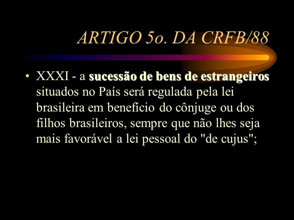 ARTIGO 5o. DA CRFB/88 sucessão de bens de estrangeirosXXXI - a sucessão de bens de estrangeiros situados no País será regulada pela lei brasileira em