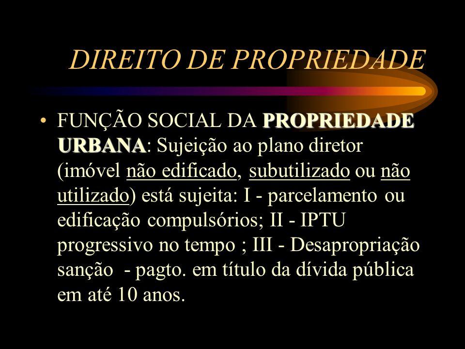 DIREITO DE PROPRIEDADE PROPRIEDADE URBANAFUNÇÃO SOCIAL DA PROPRIEDADE URBANA: Sujeição ao plano diretor (imóvel não edificado, subutilizado ou não uti