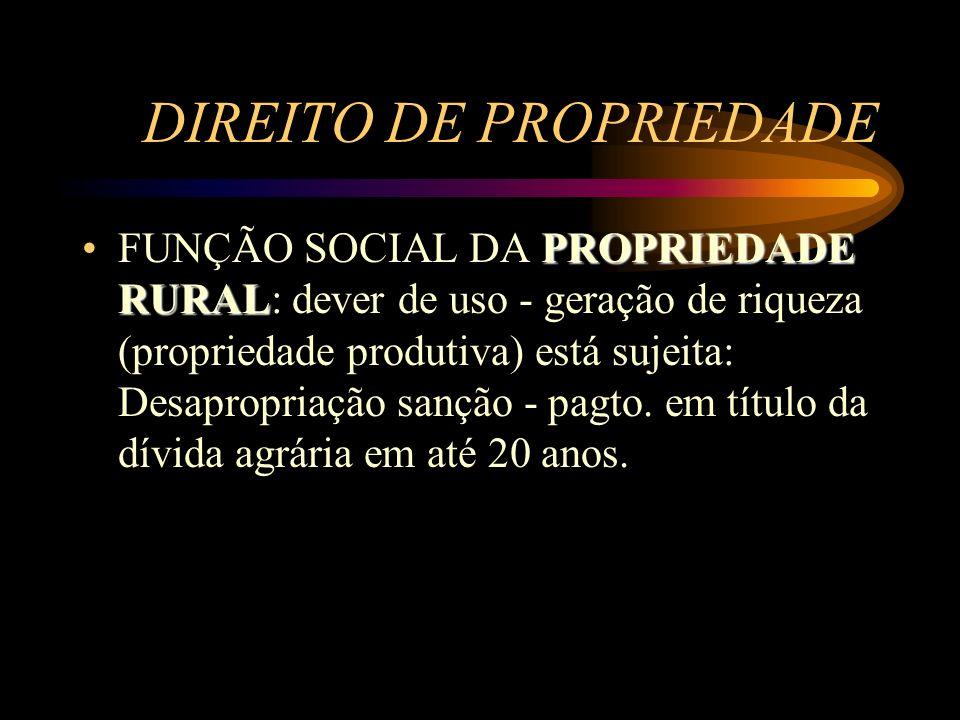 DIREITO DE PROPRIEDADE PROPRIEDADE RURALFUNÇÃO SOCIAL DA PROPRIEDADE RURAL: dever de uso - geração de riqueza (propriedade produtiva) está sujeita: De