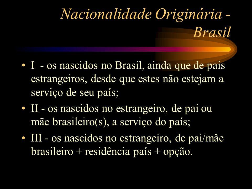 Nacionalidade Originária - Brasil I - os nascidos no Brasil, ainda que de pais estrangeiros, desde que estes não estejam a serviço de seu país; II - o