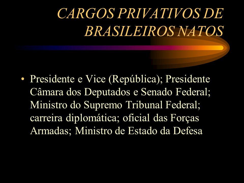 CARGOS PRIVATIVOS DE BRASILEIROS NATOS Presidente e Vice (República); Presidente Câmara dos Deputados e Senado Federal; Ministro do Supremo Tribunal F