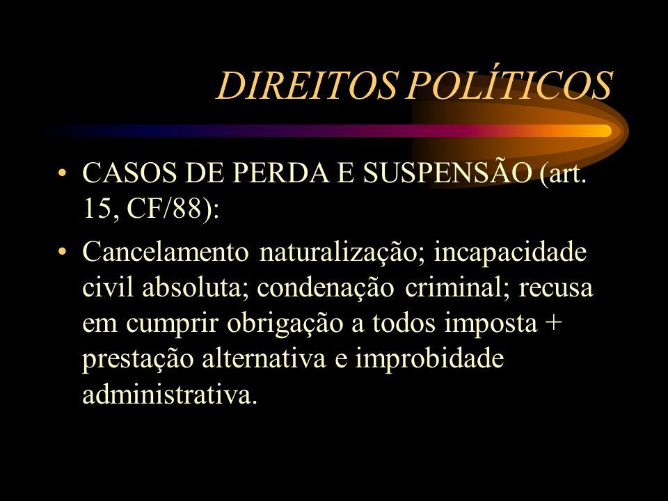 DIREITOS POLÍTICOS CASOS DE PERDA E SUSPENSÃO (art. 15, CF/88): Cancelamento naturalização; incapacidade civil absoluta; condenação criminal; recusa e