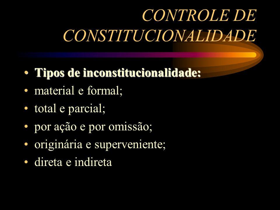 CONTROLE DE CONSTITUCIONALIDADE Tipos de inconstitucionalidade:Tipos de inconstitucionalidade: material e formal; total e parcial; por ação e por omis