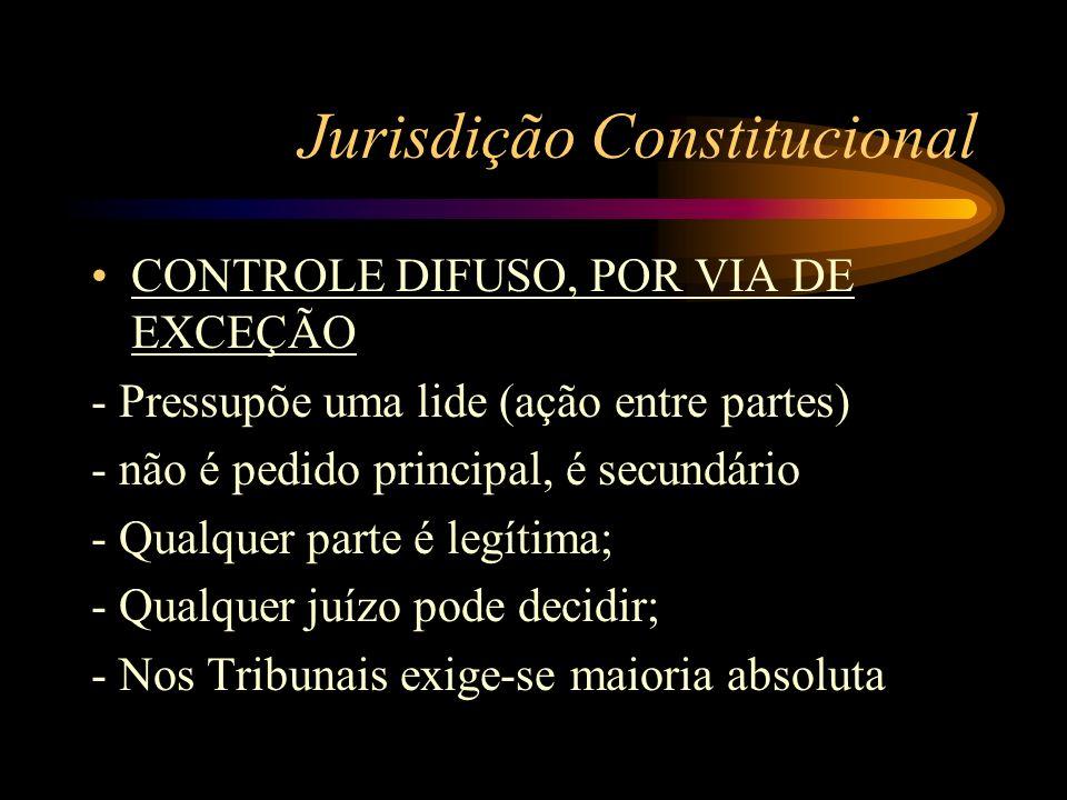 Jurisdição Constitucional CONTROLE DIFUSO, POR VIA DE EXCEÇÃO - Pressupõe uma lide (ação entre partes) - não é pedido principal, é secundário - Qualqu