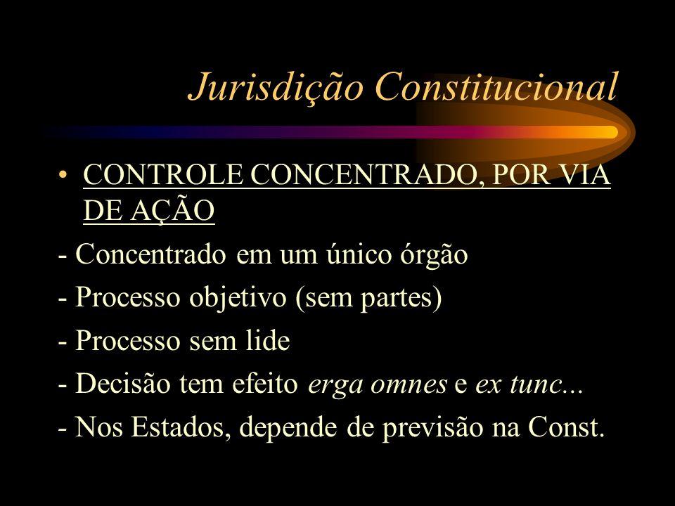 Jurisdição Constitucional CONTROLE CONCENTRADO, POR VIA DE AÇÃO - Concentrado em um único órgão - Processo objetivo (sem partes) - Processo sem lide -